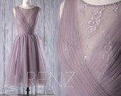 2016 Short Dusty Thistle Bridesmaid Dress, A Line Wedding Dress, Mesh Flower Illusion Prom Dress, V Back Cocktail Dress Knee Length (HS163)