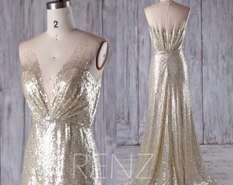2017 Gold Silver Mix Bridesmaid Dress, Deep V Neck Wedding Dress, Gradient Sequin Ball Gown, Metallic Sparkle Evening Gown Full (HQ368)