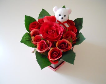 Red Roses Valentine's day Flowers Arrangement Heart Shape Valentine's Flowers Boxed Roses