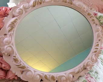 R A R E Oval vintage mirror Ornate vintage shabby chic, chalk paint pale pink and gold highlights