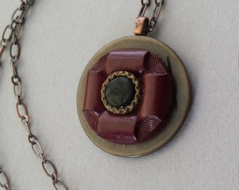 Button Necklace, Burgundy