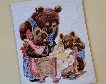 Goldilocks and The Three Bears Vintage Playskool Cardboard Tray Puzzle, 80-4A Golden Press Inc