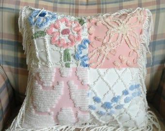 Vintage Chenille Decorative Pillow Farmhouse Shabby Chic Shuggie's Attic