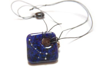Cosmos necklace, Little Dipper on deep blue/black base, phosphorescent constellation fused glass necklace, metal free hypoallergenic jewelry