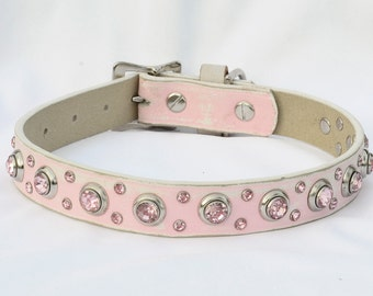"Pink Leather Dog Collar with Jewels, Pink & White Leather Dog Collar, Shabby Chic Leather Dog Collar, Personalize with a Tag, Fits 15"" - 19"""