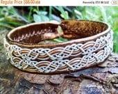 Bronze Leather Sami Viking Bracelet Cuff MUNINN Nordic Handcrafted Scandinavian Folk Art Jewelry with Pewter Braids and Antler Button