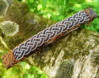 Sami Hair Clip FREKI Leather Viking Barrette with Spun Pewter and Leather Braid on Brown Lambskin - Handmade Nordic Design