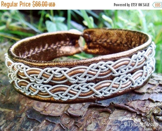 Bronze Leather Sami Viking Bracelet Cuff MUNINN Nordic Handcrafted Scandinavian Folk Art Jewelry with Pewter Braids and Antler Button