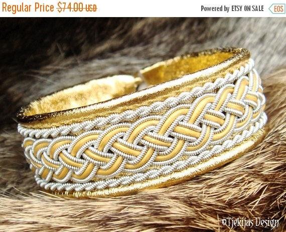 GIMLE Boho Boheme Viking Sami Gold Leather Bracelet Cuff with Spun Tin Thread and Reindeer Antler Button - Custom Handmade Nordic Spirit