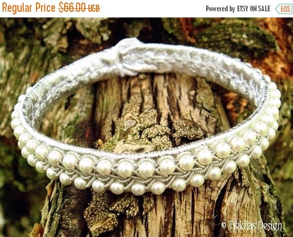 Silver SKINFAXE Tin Thread Embroidery Leather Sami Bracelet Handmade with White Swarovski Pearls braided into delicate spun Pewter wire