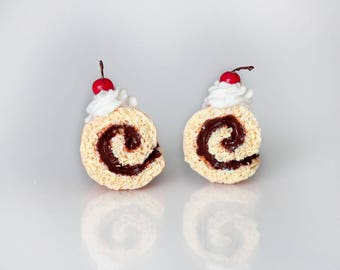 Roll Cake Stud Earrings - Chocolate Roll Cake Earrings -Swiss Roll Pastry earrings-Food Earrings - Food Jewelry - Miniature Food - Clay Food