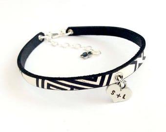 Geometrics Leather Hand Stamped Heart Initial Bracelet - Handmade Jewelry