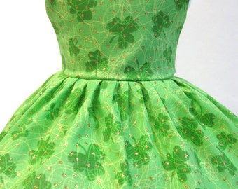Shamrocks and Gold, St. Patrick's Day Sleeveless Dress for Your American Girl Doll
