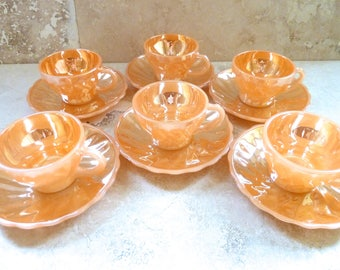 Vintage Anchor Hocking Fire King Set of Six Demitasse Espresso Cups and Saucers in Peach Luster Swirl Pattern
