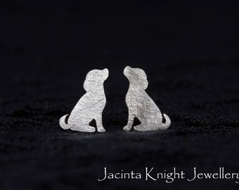 Sterling silver dog stud earrings
