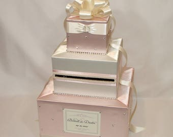 Elegant Custom Made Wedding Card Box-Blush pink-Ivory(any color combination)
