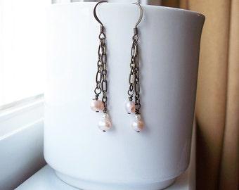 Brass Chain Pink Pearl Long Earrings