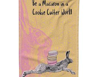 Tea Towel, Gift Idea for Her, Gift for Macaron Lover, Rabbit Tea Towel, Bunny Rabbit Lovers, Jackrabbit Kitchen Towel, Rabbit Dish Towel