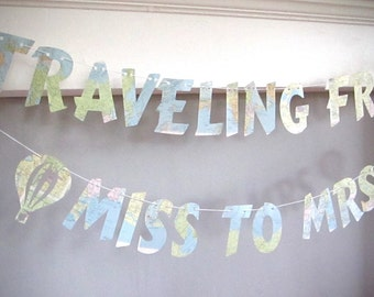 Traveling From Miss To Mrs, Banner, Map Banner, Map Theme, Travel Theme Bridal Shower, Travel Theme, Destination Wedding, Map Banner