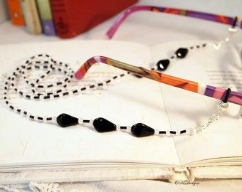 Black and White  Eyeglass Lanyard, Sun glass lanyard, Czech Glass Eyeglass Holder Necklace. Beaded Eyeglass Lanyard, OOAK Handmade