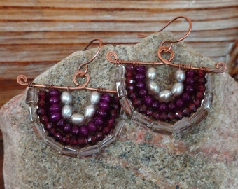 Mink. Hammered Artisan Boho Copper Chandelier Drop Earrings with Wire Wrapped Smoky Quartz, Freshwater Pearl, Purple Jade, Maroon Garnet Gem