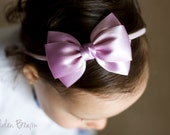 Baby Lilac Emma Bow Clip OR Headband - Flower Girl Headband - Baby Satin Bow - Girls Satin Bow - Bun Hair Bow - Baby to Adult Headband