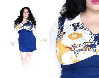 Plus Size Dress / Size L -XL / Vintage 1960's Micro Mini Dress