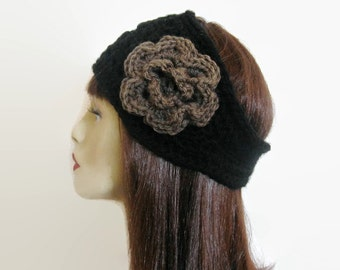 Black Head band Crocheted Black Headband with Flower Extra Wide and Thick Ear warmer Black Knit Earwarmer with Taupe  Flower Wide Headband