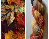 Autumn Leaves: handdyed variegated Merino sock yarn by Star Fiber Studio