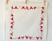 Chickens Cotton Napkin: Red on Natural Napkin
