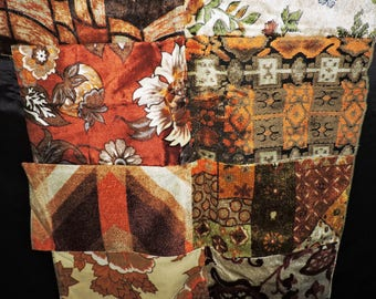 Vtg 70s Upholstry Fabric Squares Brown Orange Yellow Floral Stitched Together Wall Hanging Rug Retro