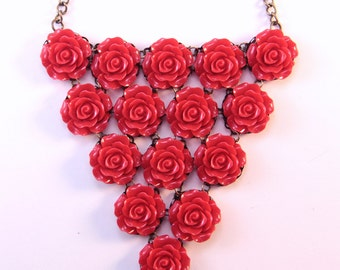 Rose Bib Necklace, Statement Necklace, Red Floral Jewelry, Romantic Gift For Wife, Vintage Style, Large Necklace, Gifts Under 50 For Mother