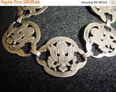 Now On Sale Sterling Silver Eagle Bracelet, Presidential Seal, 1960's 1970's Political Jewelry Accessories