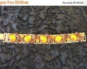 Now On Sale Vintage Amber Rhinestone Bracelet 1960s Collectible Glass Cabochon & Topaz Juliana Jewelry