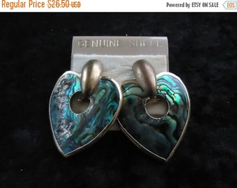 Christmas Sale Vintage Abalone Shell Heart Earrings Collectible Costume Jewelry 1980s