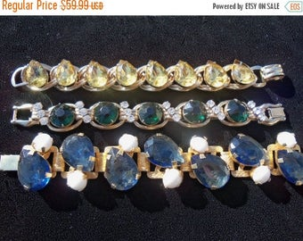 Now On Sale Vintage Rhinestone Bracelet Yellow Beautiful Stones 1950's Collectible Jewelry Old Hollywood Glam Black Tie