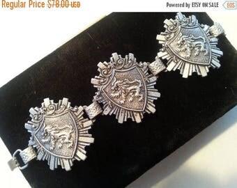 Now On Sale Vintage Aluminum Wide Collectible Bracelet Mid Century 1940's 1950's Germany Shield Lion Dragon Jewelry Retro Rocker Rockabilly