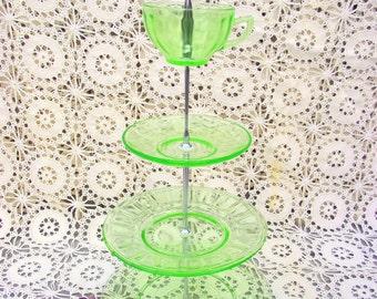 4 Tiered Cupcake Tidbit Stand - Green Depression Glass - Wedding Shower Tea Party Birthday - Dessert Server Tid Bit Plate Block Optic Ribbon