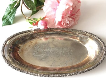 Silver BREAD Plate - Vintage Silver Tray - Silverplate Platter - Silverplated Dish - Silver Serving Bowl