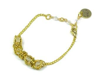 Gold Swarovski Captured Crystal Bracelet, chainmaille crystal bracelet, chainmail, caged crystal, 14kt gold fill, captive crystal