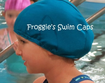 Lycra SWiM CaP - AZURE BLUE - Sizes - Baby , Child , Adult , XL - Made from Spandex / Swimsuit Swimming Fabric -by Froggie's Swim Caps