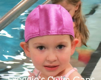 Lycra SWiM CaP - ORCHID PINK / PURPLE - Sizes - Baby , Child , Adult , Xl Made from Spandex / Swimsuit Swimming Fabric - Froggie's Swim Caps