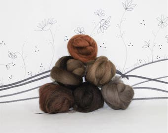 Wooly Buns wool top roving assortment, hand dyed wool top, fiber sampler, needle felting supplies in Brown Bear,1.5 oz, earth neutrals