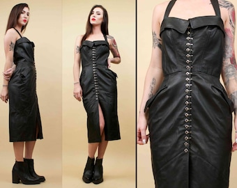 80s 90s Vtg Black Genuine Leather Buckled Front CORSET Dominatrix Structured Dress / Sterlacci FETISH Sailor Pin Up / Sm Med