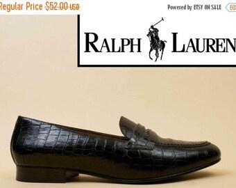 20% OFF 1DAY SALE 90s Vtg Ralph Lauren Black Genuine Leather Penny Loafer Slip On Oxford Flats / Minimalist Mod Prep Chunky Platform Low Hee