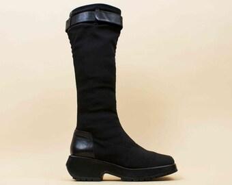 90s Vtg Black Textile & Leather Pons Quintana Scultural Stretch Platform Knee High Boots / Chunky Tread MINIMALIST Goth  / 7.5 Eu 38