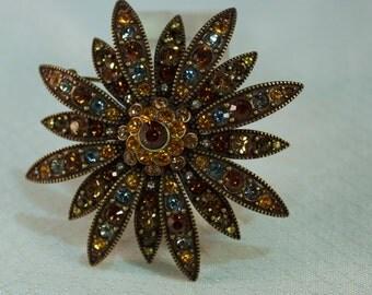 1980's Joan Rivers Swarovski Crystal Fashion Flower Brooch