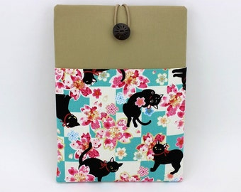 "iPad Air 1 Covers, iPad Pro 9.7"" Case, Tablet Case, Gift For Mom,  Kimono Cotton Fabric Black Cats Cherry Blossoms"
