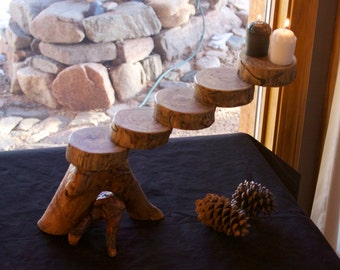 Rustic candle holder - Floating candle - Mantle candle - Centerpiece - Aspen candle holder