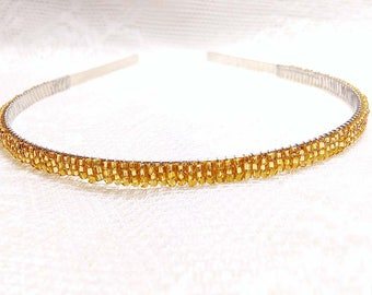 Gold Beaded Headband Tiara - Alice Hair Band - Sparkle Collection (Limited Edition) HB5SSL-5